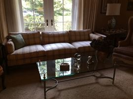 Sheraton style sofa designer fabric and brass glass coffee table