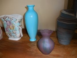 Roseville Moring Glory,Blue in Middle is Rookwood. Art Glass, Fenton