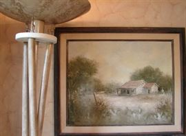 Oil on canvas by Paul Burkle, view of torchiere floor lamp. Note small horse figures beneath the shade.