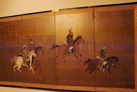 Wall screen with Samuri horsemen