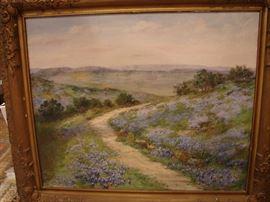 Oil on canvas by Eloise Polk McGill, original frame