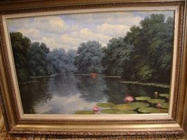 Large oil on canvas of a serene water scene by Randy Peyton