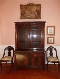 "Gorgeous antique Rosewood bookcase purchased from Longview Mansion Estate Auction in Nashville, Tenn.  The Italian ""Gondola"" chairs were also purchased at same estate auction."