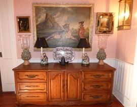"Quality French Provencial dresser/credenza, ""Monkey"" theme oil paintings, lamps"