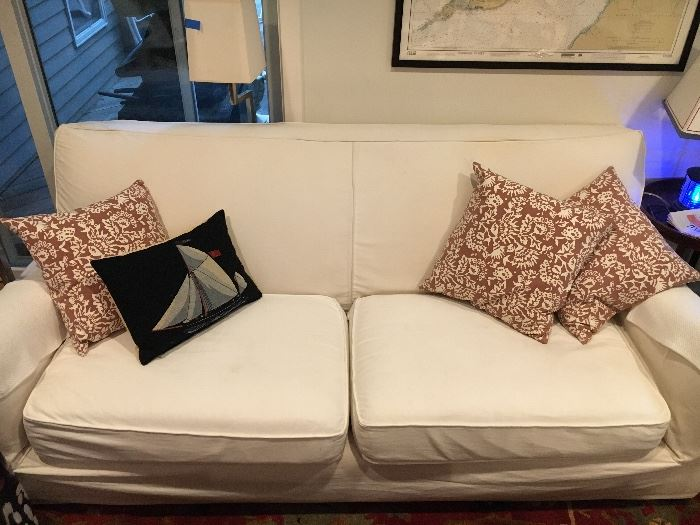 Crate and Barrel slip-covered sofa