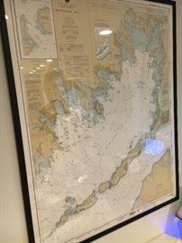 Framed Coastguard nautical chart of Buzzards Bay