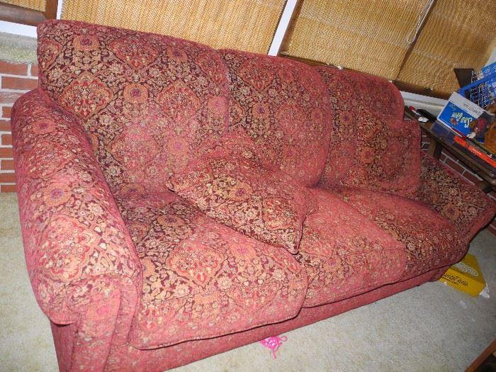 Red print sofa