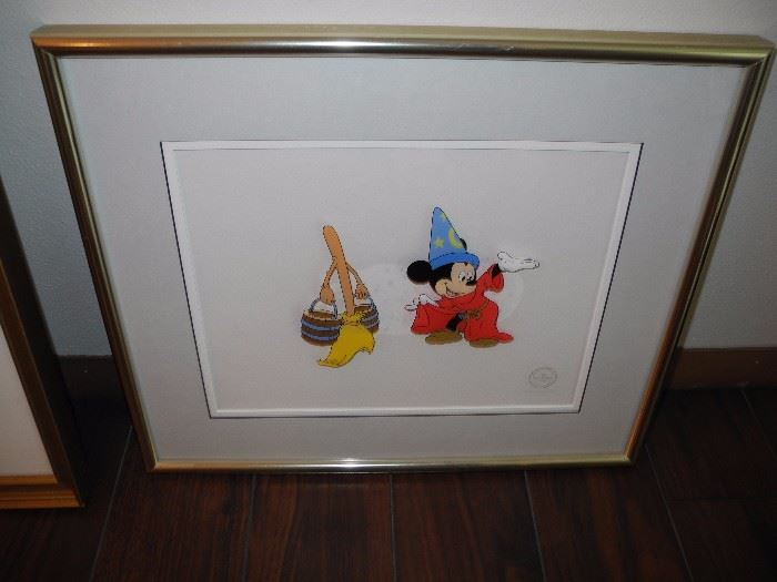 Disney cartoon cell of Mickey as the sorcerer. Limited edition