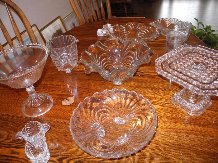 Fostoria swirl pattern - complete set. These are just some of the pieces.