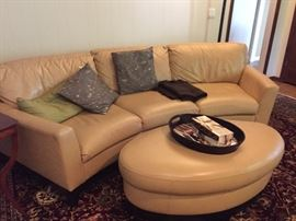 Butter Colored Leather Sofa with ottoman