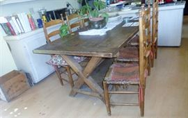 great saw buck country table with 6 chairs