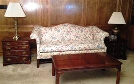 Pennsylvania House chintz sofa, Penn House 5 drawer chest, Japanese coffee table, Henredon 3 drawer chest