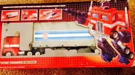 we found a box of G1 vintage Transformers. Optimus Prime shown here there are about 8 others in their boxes