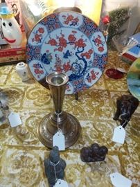 Sterling Silver Candle Holder ~ Asian Plate With Stand