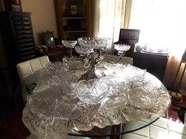 Monumental 19c English Silverplate & Cut Glass Epergne. Several ABP Cut Glass Bowls.