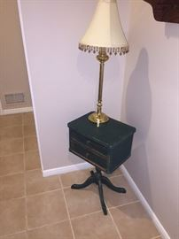 SMALL PRIMITIVE ANTIQUE GREEN TABLE & LAMP
