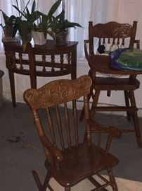 ANTIQUE ROCKING CHAIR AND HIGH CHAIR
