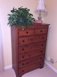 SOLID OAK TALL CHEST OF DRAWERS
