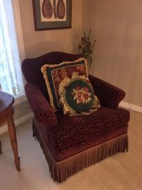 BURGUNDY CHAIR WITH TASSELS