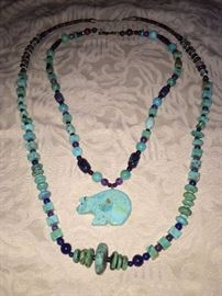 NATURAL TURQUOISE ZUNI BEAR NECKLACE