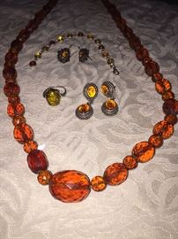 AMBER EARRINGS, BRACELET, RING AND NECKLACE