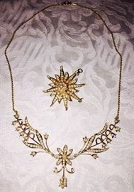 ANTIQUE SEED PEARL 14K GOLD NECKLACE AND STARBURST BROOCH/PENDANT