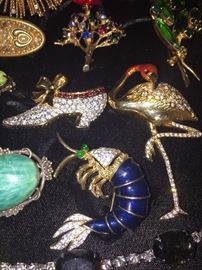 RHINESTONE AND CRYSTAL BROOCHES , NECKLACES, EARRINGS AND MORE