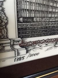 """ETCHED MARBLE CHICAGO """"WINDY CITY"""" WALL ART"""