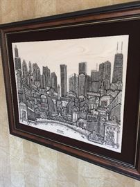 "ETCHED MARBLE CHICAGO ""WINDY CITY"" WALL ART"
