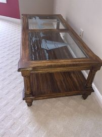 NAUTICAL ETCHED GLASS SOLID WOOD TABLE