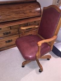 BURGUNDY LEATHER & SOLID OAK OFFICE CHAIR