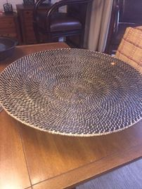 LARGE WOVEN WICKER BOWL-HOME DECOR'