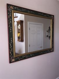 CUSTOM HAND-PAINTED LONG CABINET AND MATCHING MIRROR