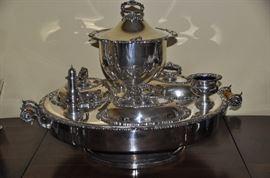 "Gorgeous Victorian Silver-Plate Dumbwaiter/Server 28"" Diameter C.1960"