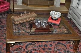 """Asian Hand Painted with Brass Legs and Beveled Glass Coffee Table by Henredon.  3' 2"""" x 4' 5"""""""