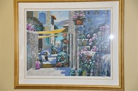 """/Watercolor by Howard Chesner Behrens Serigraph """"Seaside Café."""" Signed and numbered 34/300.  Overall dimensions 44"""" x 52"""""""