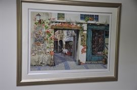 """Watercolor by Victor Shvaiko """"La Rapierre.""""  Signed and numbered AP 1/20.  Overall dimensions 43"""" x 54"""""""