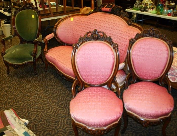 4 Piece Victorian Belter Parlor Set Including Sofa, Gentleman's Chair, & Two Side Chairs