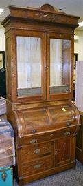 Walnut Victorian Cylinder Desk