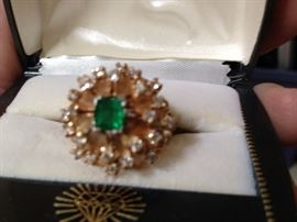 Emerald and Diamond Starburst Ring