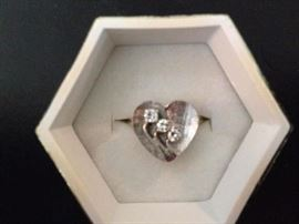 1950's Diamond Heart Ring w/ 3 Diamonds Weighing .17CTW