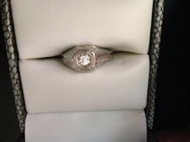 14K White Gold w/ European Cut Diamond Weighing .24CTW