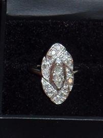 14K White Gold w/ Center Marquise Diamond Weighing .44CT & 14 Diamonds Weighing .48CTW