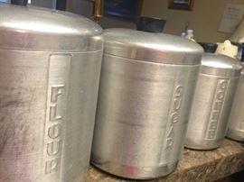 Metal vintage canister set