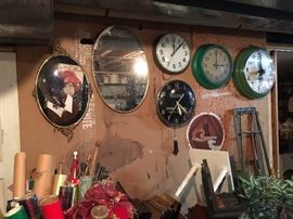 Fabulous wall clocks and wall art with easels, antique umbrellas and parasols  and gift wrap!