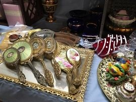 Fascinating hand mirror and brush sets with salt and pepper sets and porcelain collectibles!