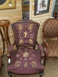 PAIR OF VICTORIAN CHAIRS WITH NEEDLEPOINT SEATS