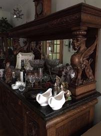 Antique Victorian hand carved server