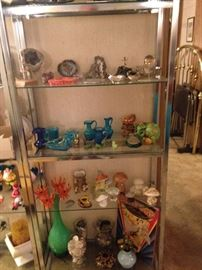 The other etagere with some neat groovy Mid Century collectibles! Also features some nice rocks collected over the years.