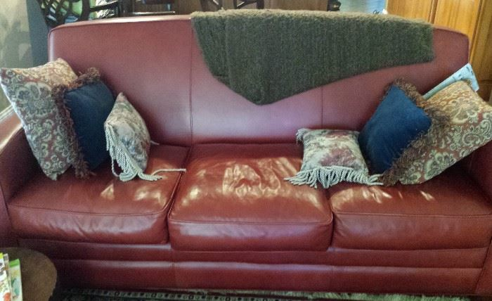 Thomasville red leather sofa